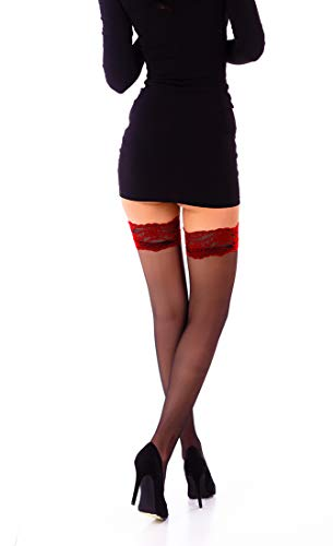(THIGH HIGH Sheer Lace Top Silicone Stockings Nylon Hosiery 20 Den S - XL (Black - Red, S) )