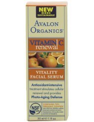 Avalon Organics Vitamin C Renewal Vitality Facial Serum, 1-Ounce Bottle (Pack of 2)