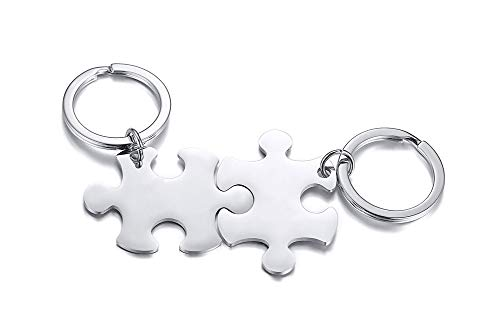 XUANPAI Personalized Matching Couples Custom Puzzle Piece Key Chain Set Pendant Key Ring for Lover,2pcs
