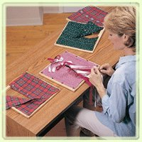 Sammons Preston Dressing Frame Set, Part 1, Four 12'' Cloth Squares Seated on Wood Frames: Large Buttons, Strings for Tying Bows, Hook & Eye, & Compression Snaps, Dressing Education Tool & Training Aid by Sammons Preston