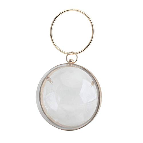 LETODE Mini Round Ball Shape Purse Transparent Evening Clutches Cute Clear Acrylic Box Shoulder Bags Handbag for Women (CLEAR & GOLD)