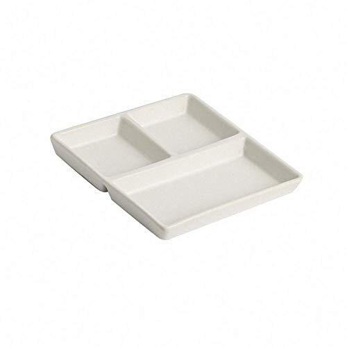 Square Ceramic Compartment Plate Breakfast Serving Tray Luncheon Plates Divided Plate Bread Plate Butter Plate Dinnerware Dinner Plate Steak Dish for Kids, White
