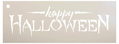 Happy Halloween Stencil by StudioR12 | Reusable Mylar Template | Use to Paint Wood Signs - Pallets - Pillows - DIY Fall & Halloween Decor - Select Size (17