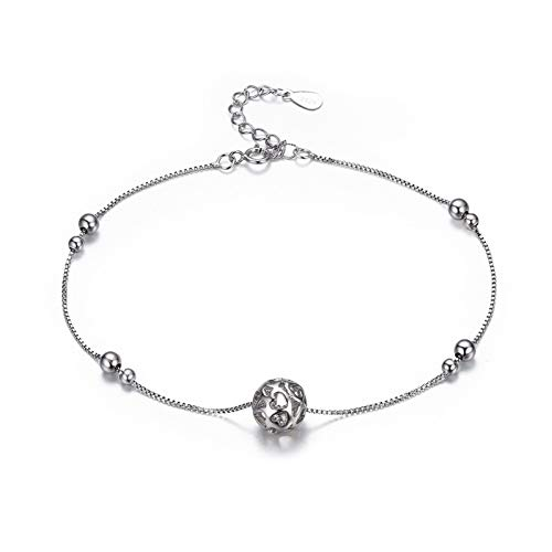 CTRCHUJIAN 925 Sterling Silver Chain Heart Cut Ball Foot Jewelry Anklet for Women Girl Leg Bracelet