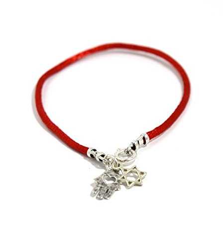 (Sterling Silver Star of David & Hamsa Hand on Red String Bracelet Jewelry for Women)