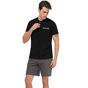 Aibrou Men's Short Sleeves and Shorts Cotton Pajama Set Sleepwear Lounge Set Summer