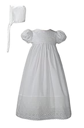 White Cotton Christening Baptism Gown with Lace Border with Bonnet, 03