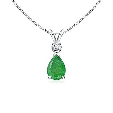 Angara Pear Emerald Diamond Pendant Necklace in 14k Yellow Gold aVOJroZmra