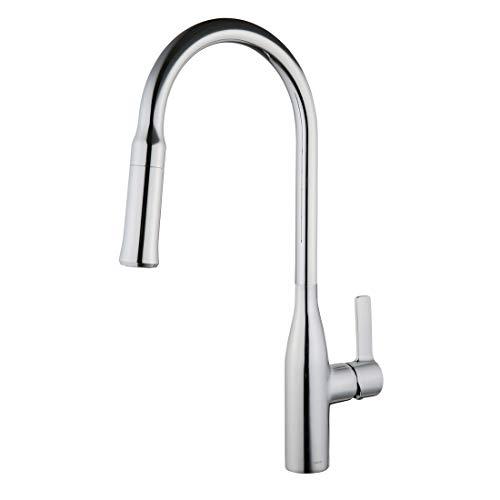 Keewi Kitchen Faucet Chrome Sink Mixer Brass Finish- Kitchen Sink Faucet Chrome Single Handle Pull-down Deck Mounted