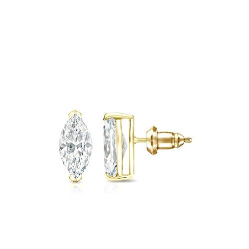 14k Yellow Gold V-End Prong Marquise-cut Diamond Stud Earrings (1/2ct,O.White,I1-I2) - Marquise Cut Diamond Earrings