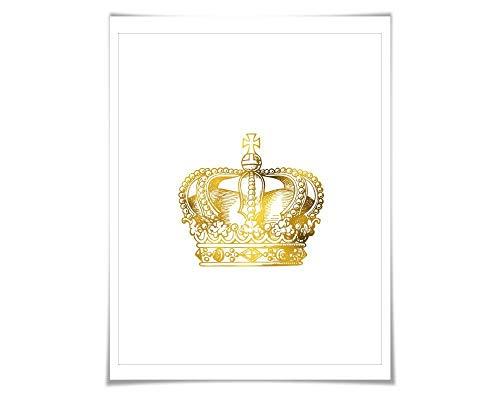 (Crown Gold Foil Art Print. 7 Foil Colours/3 Sizes. Royal Queen King Princess Poster Nursery Vintage Fashion)