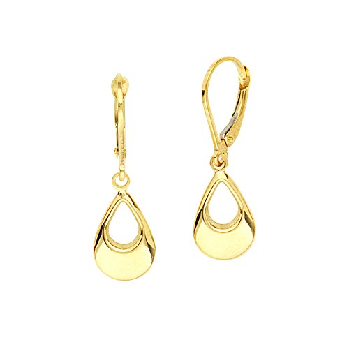 10kt Yellow Gold Dangle Open Teardrop Leverback Earrings