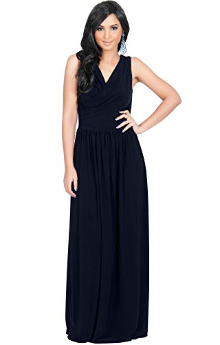 KOH KOH Womens Long Sleeveless Sexy Summer Semi Formal Bridesmaid Wedding Guest Evening Sundress Sundresses Flowy Gown Gowns Maxi Dress Dresses, Dark Navy Blue L 12-14 ()