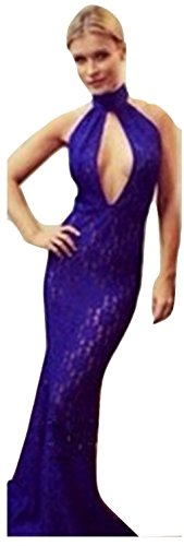 NEW Mesdames Long Bleu Dentelle Dos Nu robe Club Wear Soirée D'Été Robes Taille UK 10EU 38