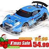 NQD RC Car Electric Racing Drift Car 1/14 2.4Ghz Radio Remote 25Km/h Controlled RTR Truck for Kids Adults Gifts 4WD High Speed Racer Car with 7.4V Battery and One Extra Rechangeble Car Shell, Blue (Rtr 1 10 Electric Rc Drift Car)