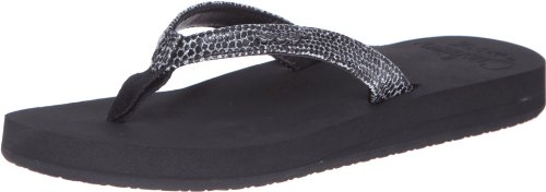 (Reef Women's Star Cushion Sassy Sandal,Black/Silver,8 M)