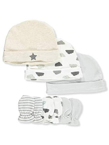 Bon Bebe Baby Newborn Unisex 6-Pack Cap & Mitten Set, Star One Size
