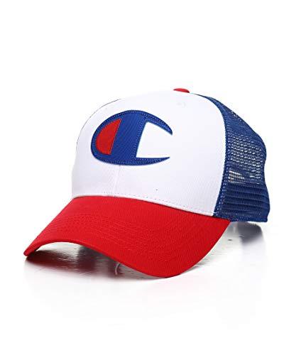 Champion LIFE Men's Twill Mesh Dad Cap, Scarlet/White/SURF The Web, One - Champion Baseball Cap