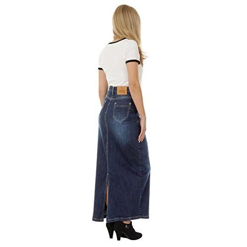 durable modeling Long Denim Skirt - Darkwash Maxi Skirt Full ...