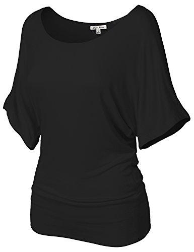 Fashionable Baggy Drape Batwing Tunic Top Shirts 107-Black US L