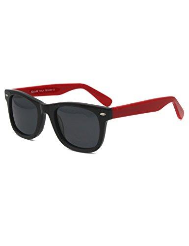 Wayfarer Acetate small face men women teenager Glare-Free Sunglasses (Black/Red)