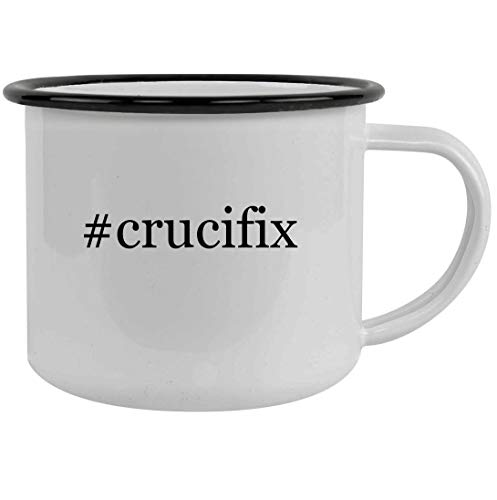 #crucifix - 12oz Hashtag Stainless Steel Camping Mug, Black