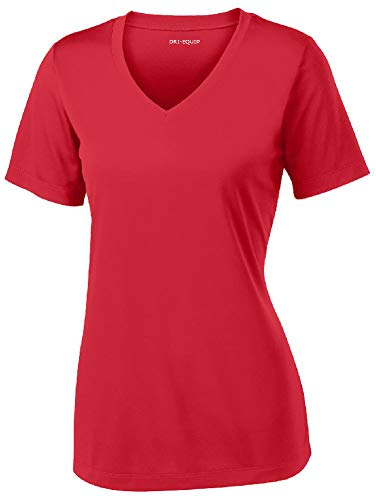 Women's Athletic All Sport V-Neck Tee Shirt in 12 Colors,Large,True Red ()