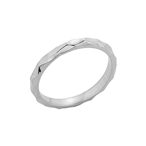 Dainty 10k White Gold Mid Finger Spike Band Midi Knuckle Ring, Size 6.5