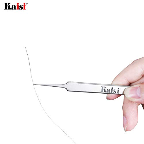 Kaisi Precision Tweezers Set, 3 PCS Stainless Steel Tweezers Kit Curved Tweezers for Craft, Jewelry, Electronics, Laboratory Work by Kaisi (Image #2)