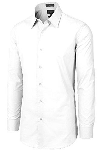 JC DISTRO Mens Slim Fit Solid Double-Button Cuffs L 16-16.5N-36/37S White Dress Shirts