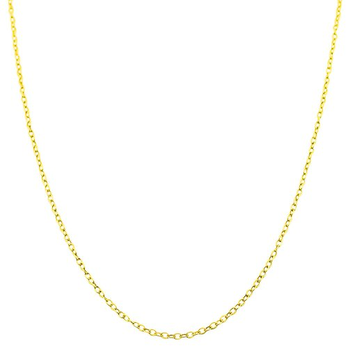 Kooljewelry 14k Yellow Gold Filled 1mm Cable Chain Necklace (20