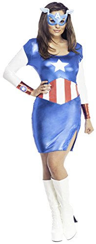 Rubie's Secret Wishes Women's Marvel Universe Miss American Dream Costume Dress and Eye Mask,Multicolor,Medium