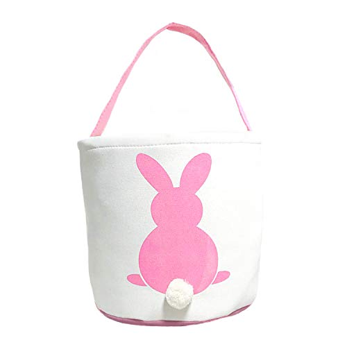 MONOBLANKS Easter Bunny Basket Bags for Kids Canvas Cotton Carrying Gift and Eggs Hunt Bag,Fluffy Tails Printed Rabbit Canvas Toys Bucket Tote (Pink) -