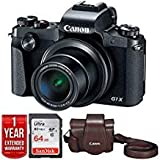 Canon PowerShot G1 X Mark III 24.2MP 3x Zoom Lens Digital Camera, Black 2208C001 + Canon Deluxe Leather Case + Sandisk Ultra SDXC 64GB UHS Class 10 Memory Card + 1 Year Extended Warranty