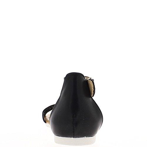 Piatto neri sandali con flange ampie e nastro pizzo