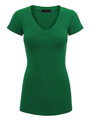 Lock and Love WT1606 Womens Basic Fitted Short Sleeve V-Neck T Shirt M (Green Womens V-neck T-shirt)