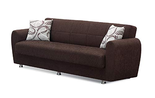 (BEYAN Boston Collection Modern Convertible Folding Sofa Bed with Storage Space, Includes 2 Pillows, Dark Brown)