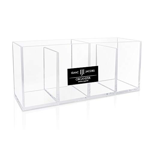 - Isaac Jacobs 4-Compartment Clear Acrylic Organizer- Makeup Brush Holder- Storage Solution- Office, Bathroom, Kitchen Supplies and More (Clear)