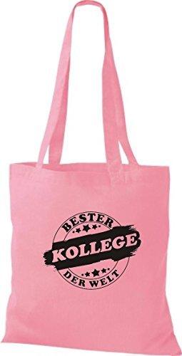 ShirtInStyle Bolso de tela Bolsa de algodón Bester COLEGA der Welt Rosa