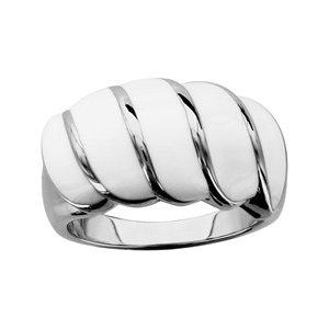 1001 Bijoux - Bague acier bandes résines blanches