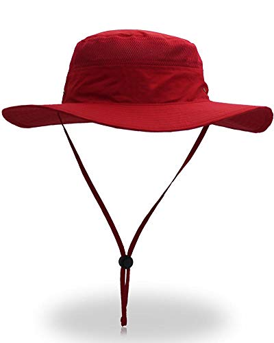 YOYEAH UPF 50+ Wide Brim Sun Protection Hat Outdoor Mesh Sun Hat Windproof Fishing Hats Red