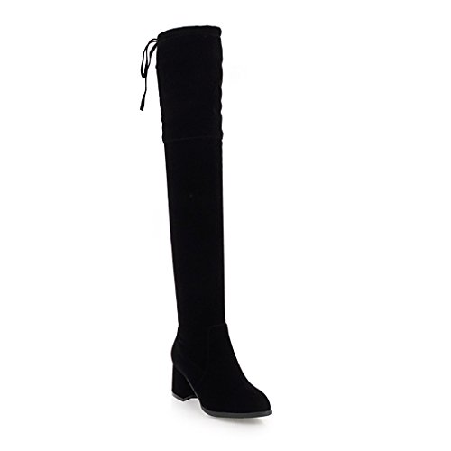 wetkiss Fashion Lady Over The Knee Boots Square Heels Round Toe Thigh high Boots Stretch Women Shoes Black