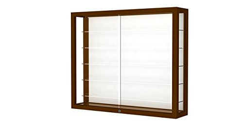 Heirloom Series Wall Display Case Frame Color: Carmel Oak, Case Backing: White Laminate