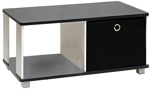 Furinno 99954BK/BK Coffee Table with Bin Drawer, Black & White ()