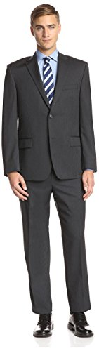 Ike Behar Men's Pinstripe Suit, Charcoal, (Charcoal Pinstripe Wool Suit)