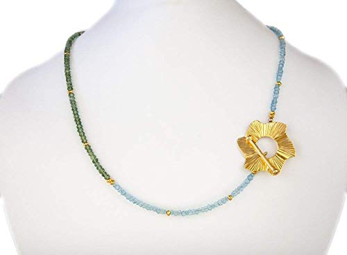 Womens 18 inch Gold Flower Toggle Pendant Necklace Blue Topaz Green Apatite Gemstone LLD Jewelry