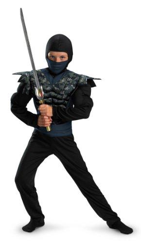 [Shadow Ninjas Night Fury Night Camo Ninja Classic Muscle Boys Costume, 4-6] (Muscle Ninja Warrior Costume)