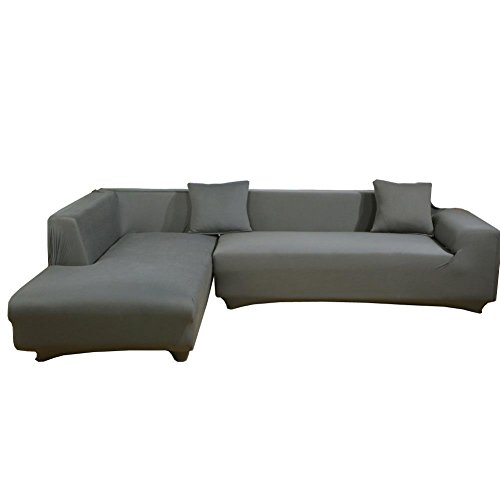 WOMACO L Shape Sofa Covers Sectional Sofa Cover 2 pcs Stretch Sofa Slipcovers for L-shape Couch - Gray