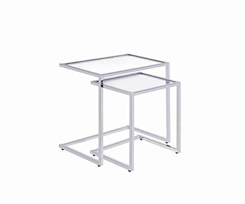 Coaster Contemporary Glass and Chrome 2 Piece Nesting Table 930117