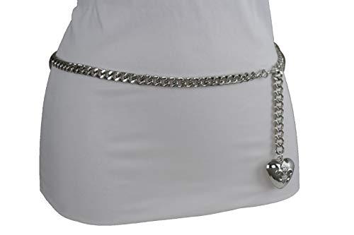 Women Hip Waist Silver Metal Chain Fashion Belt Love Heart Buckle Charm XS S M by RIX Fashion Luxury (Image #9)'